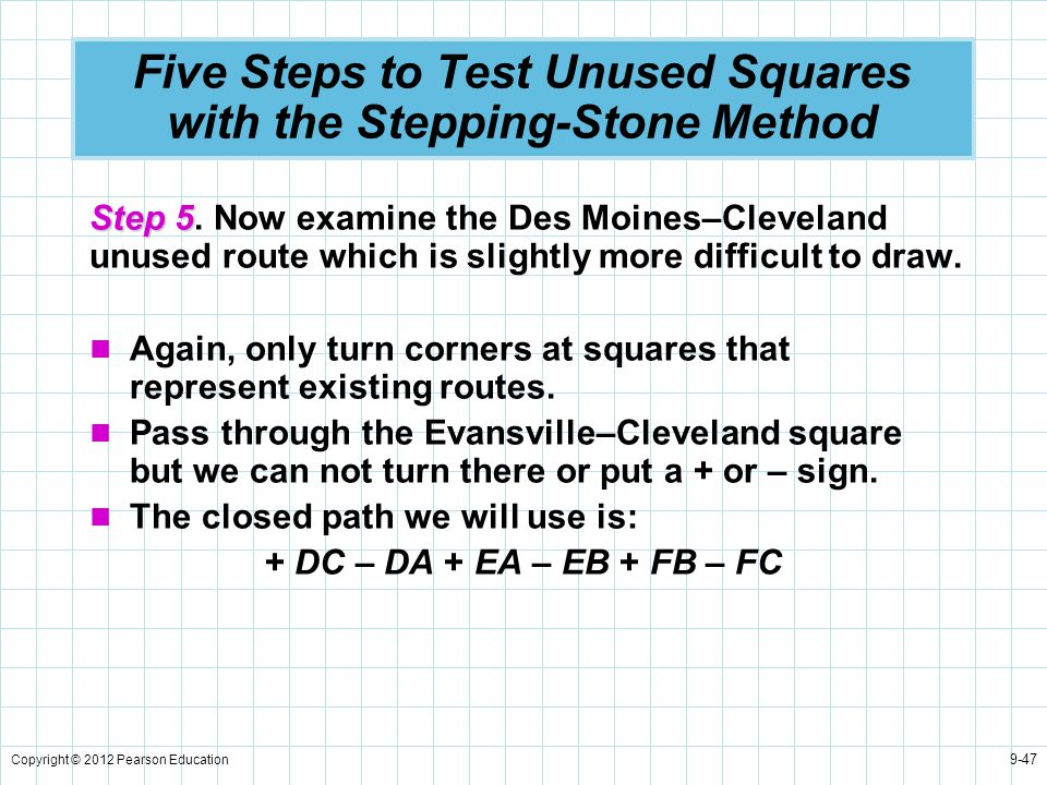 Copyright © 2012 Pearson Education 9-47 Five Steps to Test Unused Squares with the Stepping-Stone Method Step 5 Step 5. Now examine the Des Moines–Cle