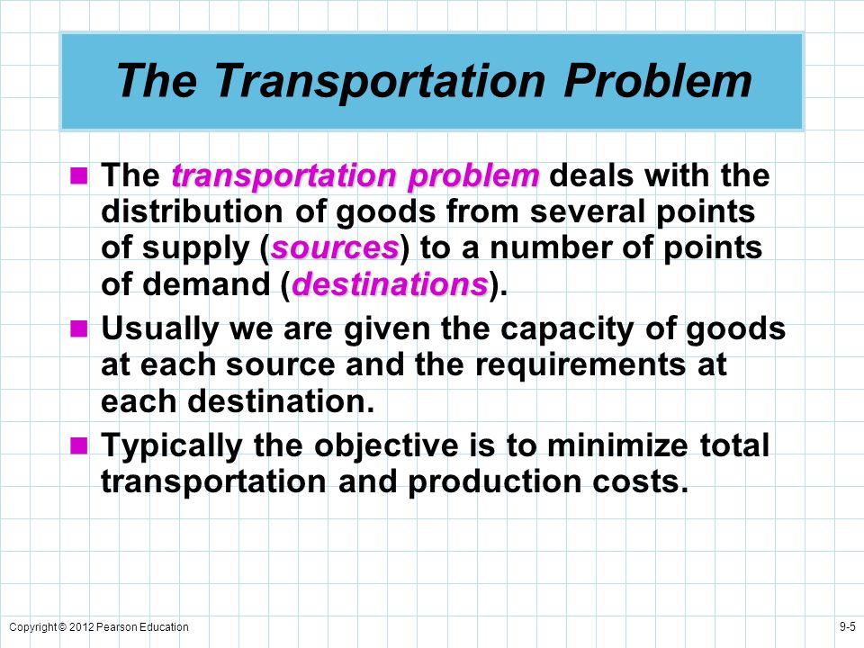 Copyright © 2012 Pearson Education 9-5 The Transportation Problem transportation problem sources destinations The transportation problem deals with th
