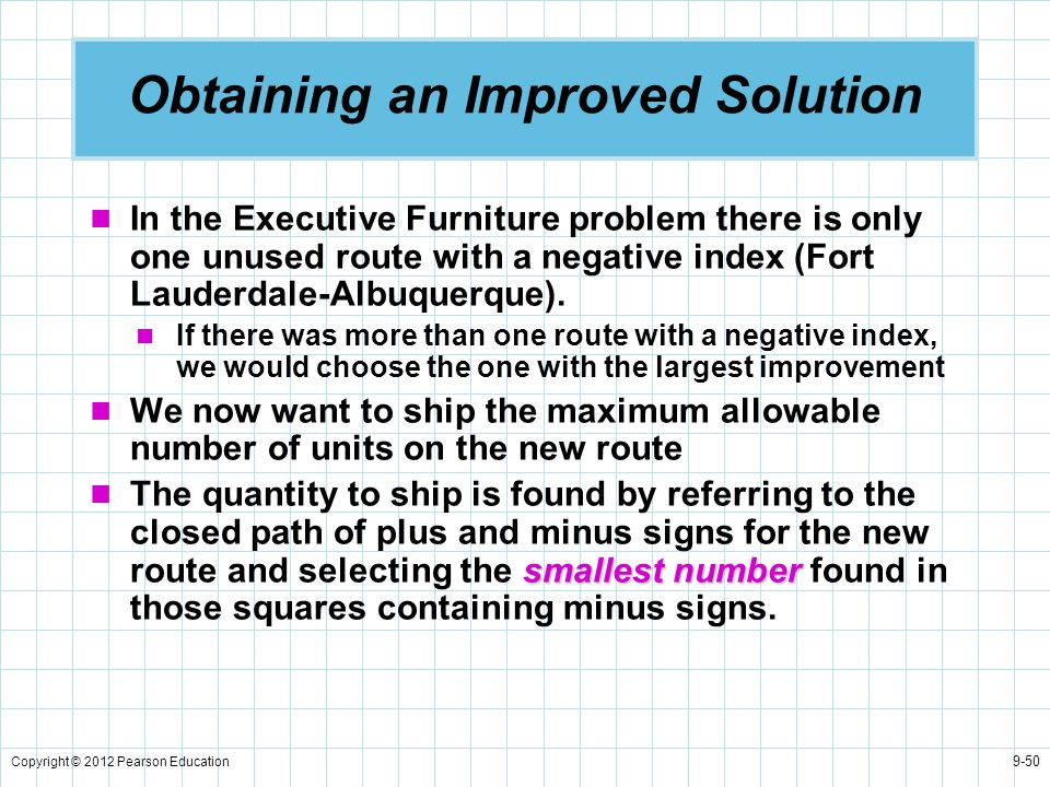 Copyright © 2012 Pearson Education 9-50 Obtaining an Improved Solution In the Executive Furniture problem there is only one unused route with a negati