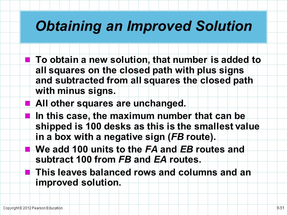 Copyright © 2012 Pearson Education 9-51 Obtaining an Improved Solution To obtain a new solution, that number is added to all squares on the closed pat