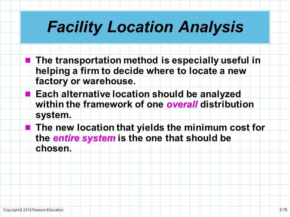 Copyright © 2012 Pearson Education 9-78 Facility Location Analysis The transportation method is especially useful in helping a firm to decide where to