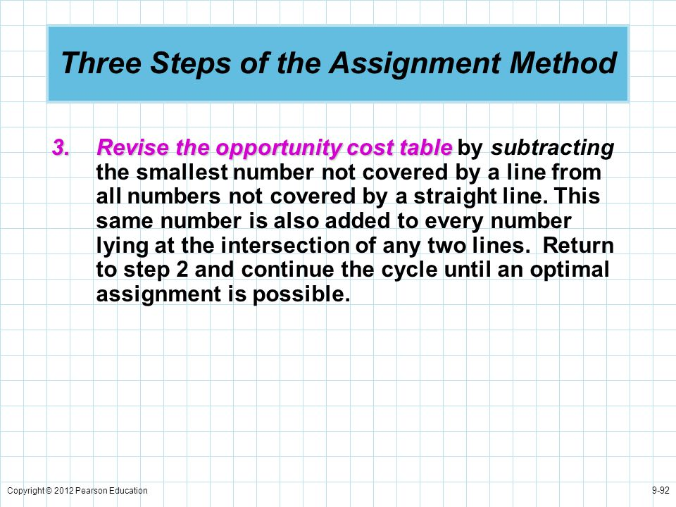 Copyright © 2012 Pearson Education 9-92 Three Steps of the Assignment Method 3.Revise the opportunity cost table 3.Revise the opportunity cost table b