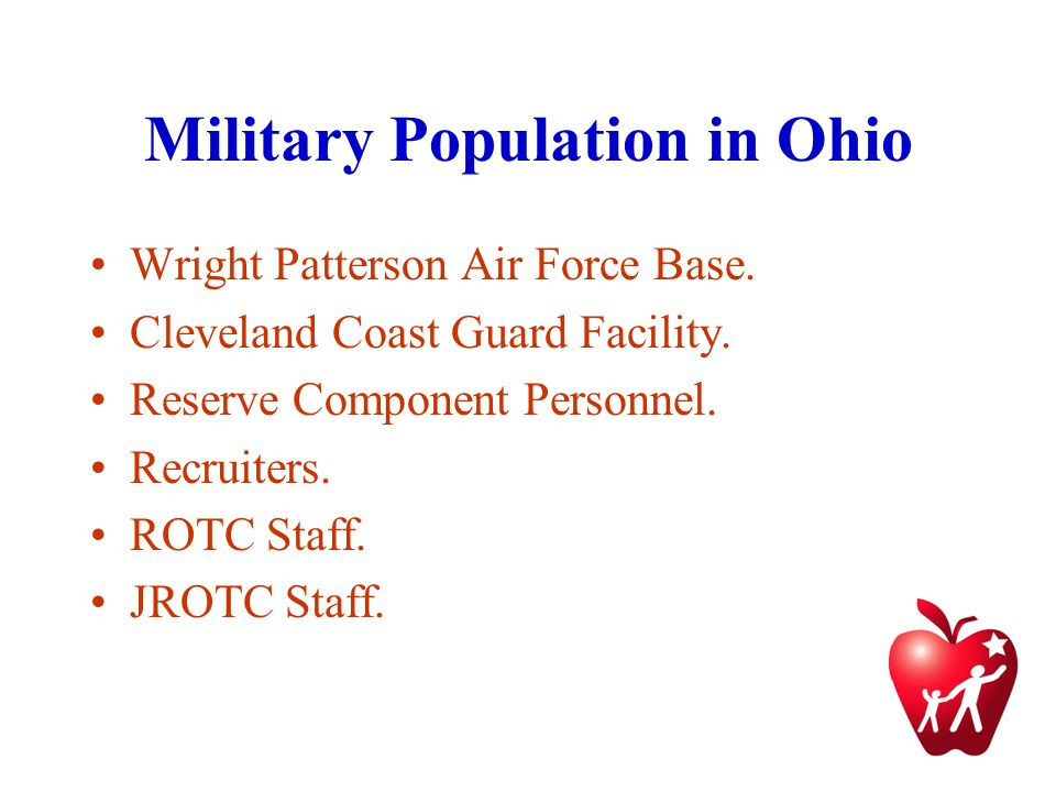 Military Population in Ohio Wright Patterson Air Force Base.