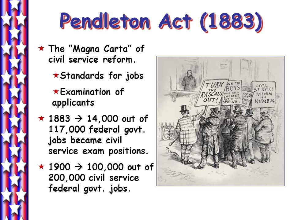 Pendleton Act (1883)  The Magna Carta of civil service reform.