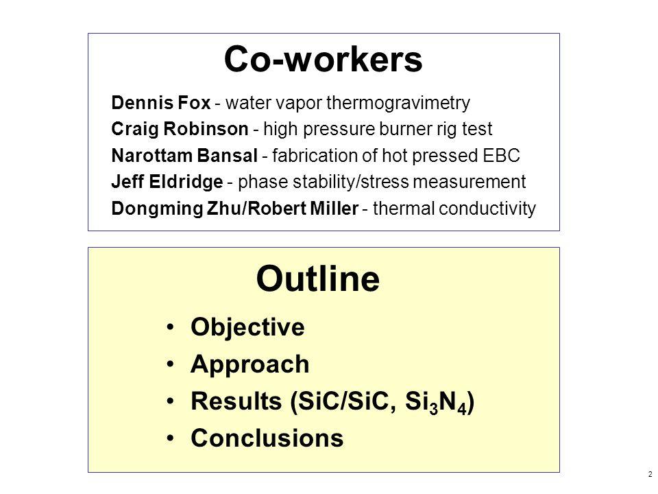 2 Co-workers Dennis Fox - water vapor thermogravimetry Craig Robinson - high pressure burner rig test Narottam Bansal - fabrication of hot pressed EBC