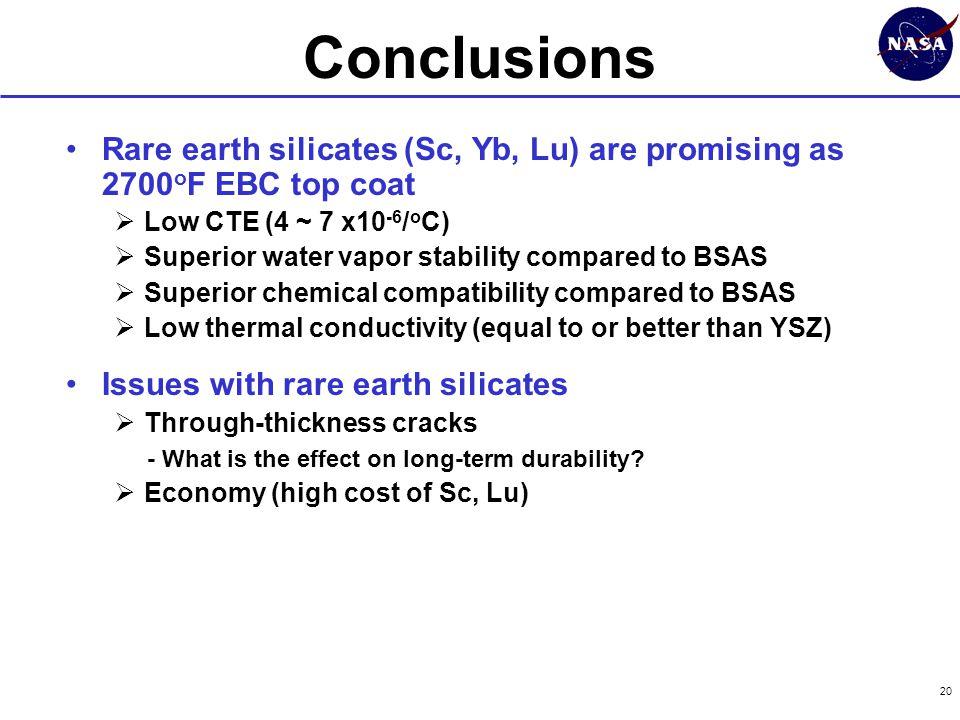 20 Rare earth silicates (Sc, Yb, Lu) are promising as 2700 o F EBC top coat  Low CTE (4 ~ 7 x10 -6 / o C)  Superior water vapor stability compared t