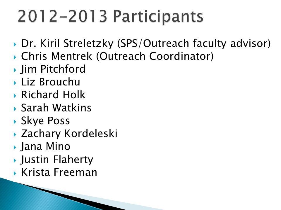  Dr. Kiril Streletzky (SPS/Outreach faculty advisor)  Chris Mentrek (Outreach Coordinator)  Jim Pitchford  Liz Brouchu  Richard Holk  Sarah Watk