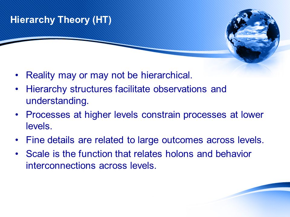 Hierarchy Theory (HT) Reality may or may not be hierarchical.