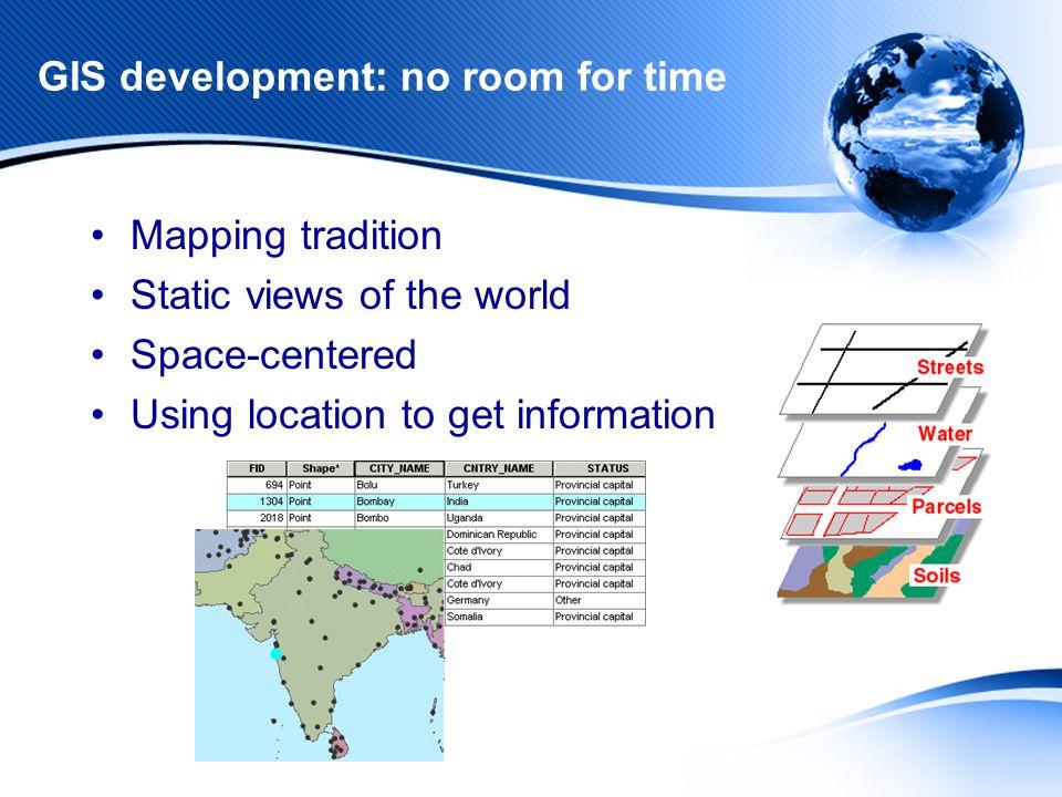 Current Temporal GIS Technology Mostly point data Change-based information Uniform change Do not consider: –Change with spatial variation –Split –Merge –Development (temporal lineage)