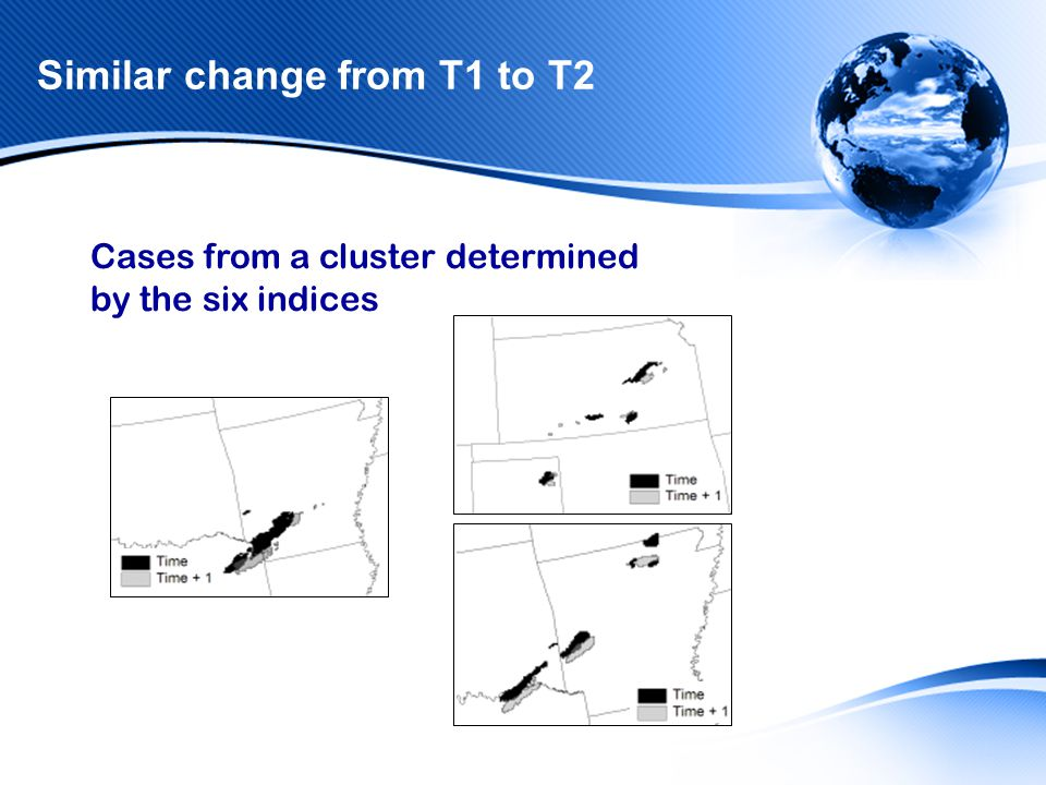 Similar change from T1 to T2 Cases from a cluster determined by the six indices