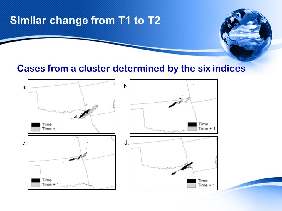 Similar change from T1 to T2 a. c. b. d. Cases from a cluster determined by the six indices