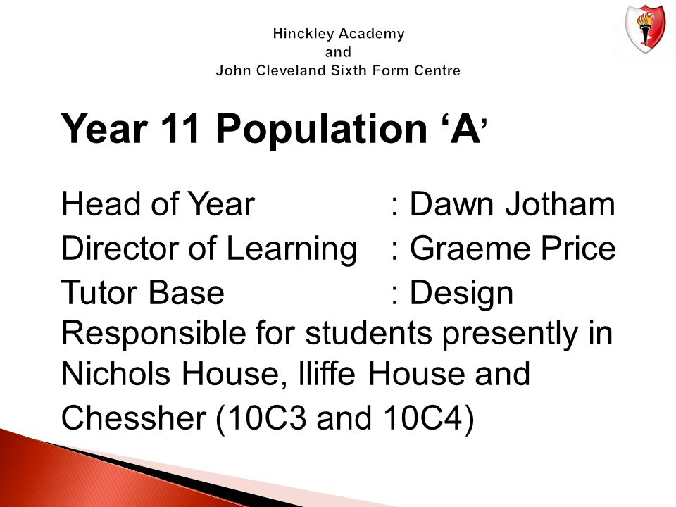 Year 11 Population 'A ' Head of Year: Dawn Jotham Director of Learning: Graeme Price Tutor Base: Design Responsible for students presently in Nichols