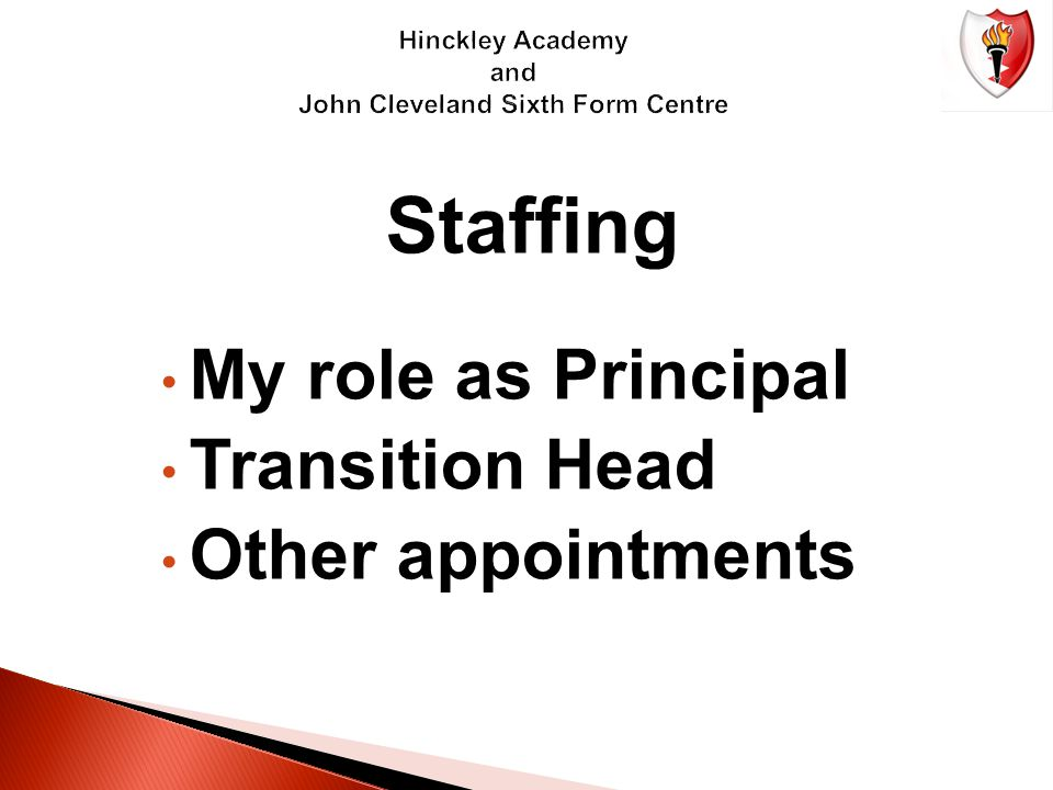 Staffing My role as Principal Transition Head Other appointments