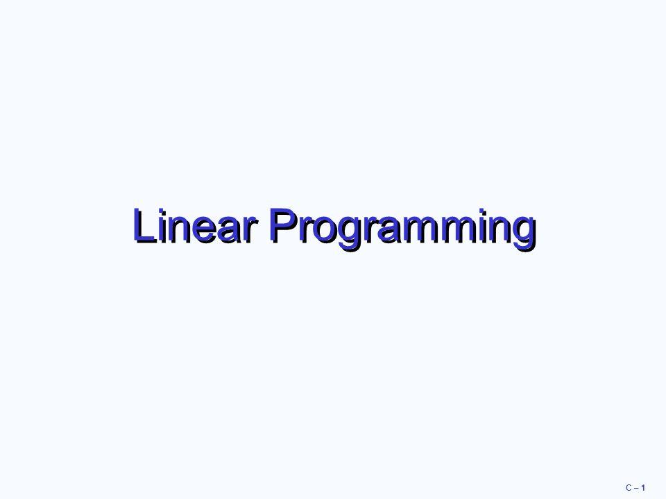 C – 1 Linear Programming