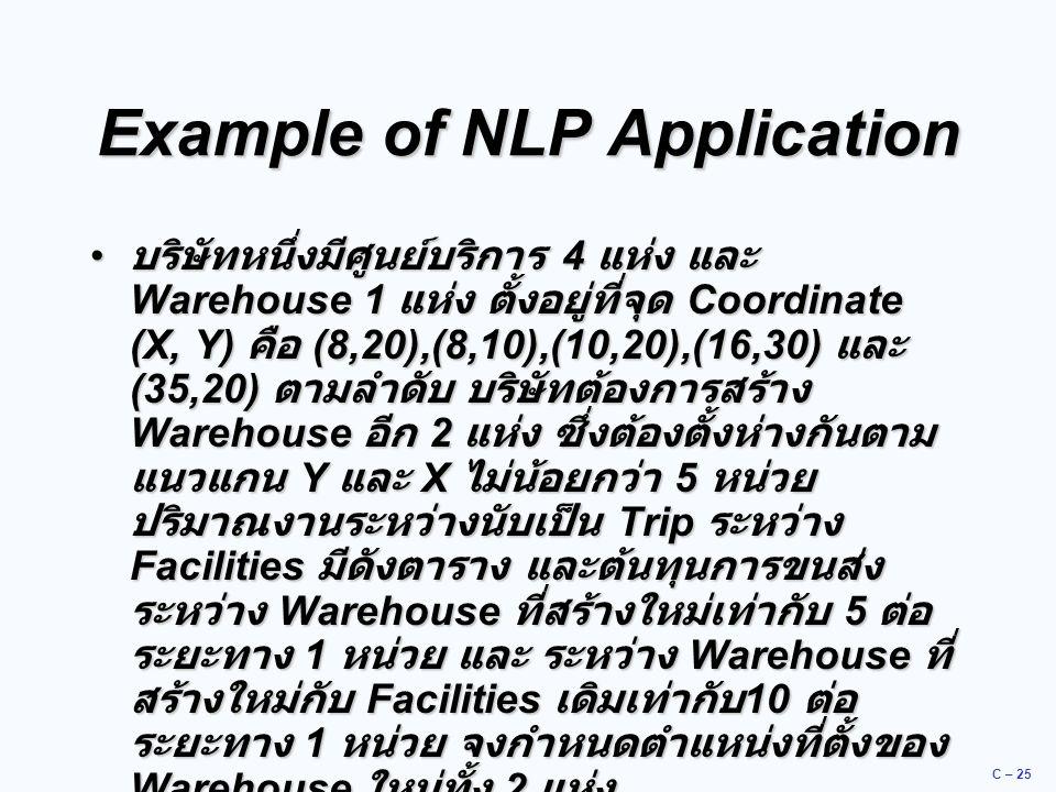 C – 25 Example of NLP Application บริษัทหนึ่งมีศูนย์บริการ 4 แห่ง และ Warehouse 1 แห่ง ตั้งอยู่ที่จุด Coordinate (X, Y) คือ (8,20),(8,10),(10,20),(16,30) และ (35,20) ตามลำดับ บริษัทต้องการสร้าง Warehouse อีก 2 แห่ง ซึ่งต้องตั้งห่างกันตาม แนวแกน Y และ X ไม่น้อยกว่า 5 หน่วย ปริมาณงานระหว่างนับเป็น Trip ระหว่าง Facilities มีดังตาราง และต้นทุนการขนส่ง ระหว่าง Warehouse ที่สร้างใหม่เท่ากับ 5 ต่อ ระยะทาง 1 หน่วย และ ระหว่าง Warehouse ที่ สร้างใหม่กับ Facilities เดิมเท่ากับ 10 ต่อ ระยะทาง 1 หน่วย จงกำหนดตำแหน่งที่ตั้งของ Warehouse ใหม่ทั้ง 2 แห่ง บริษัทหนึ่งมีศูนย์บริการ 4 แห่ง และ Warehouse 1 แห่ง ตั้งอยู่ที่จุด Coordinate (X, Y) คือ (8,20),(8,10),(10,20),(16,30) และ (35,20) ตามลำดับ บริษัทต้องการสร้าง Warehouse อีก 2 แห่ง ซึ่งต้องตั้งห่างกันตาม แนวแกน Y และ X ไม่น้อยกว่า 5 หน่วย ปริมาณงานระหว่างนับเป็น Trip ระหว่าง Facilities มีดังตาราง และต้นทุนการขนส่ง ระหว่าง Warehouse ที่สร้างใหม่เท่ากับ 5 ต่อ ระยะทาง 1 หน่วย และ ระหว่าง Warehouse ที่ สร้างใหม่กับ Facilities เดิมเท่ากับ 10 ต่อ ระยะทาง 1 หน่วย จงกำหนดตำแหน่งที่ตั้งของ Warehouse ใหม่ทั้ง 2 แห่ง
