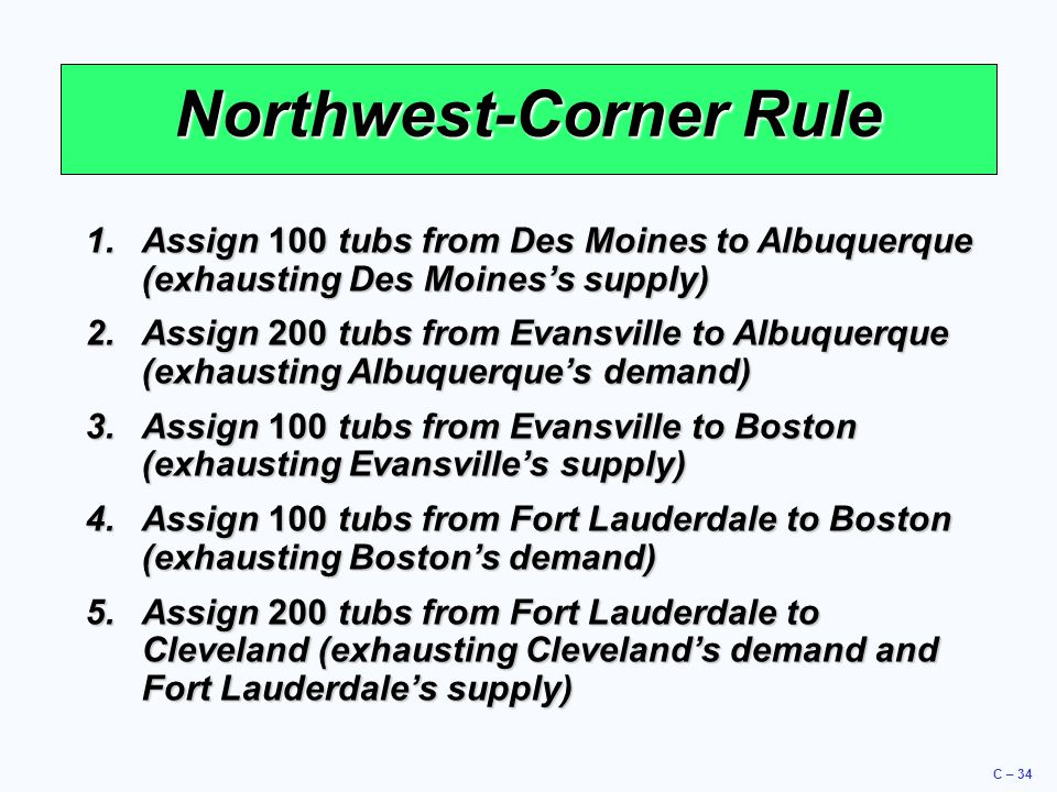 C – 34 Northwest-Corner Rule 1.Assign 100 tubs from Des Moines to Albuquerque (exhausting Des Moines's supply) 2.Assign 200 tubs from Evansville to Albuquerque (exhausting Albuquerque's demand) 3.Assign 100 tubs from Evansville to Boston (exhausting Evansville's supply) 4.Assign 100 tubs from Fort Lauderdale to Boston (exhausting Boston's demand) 5.Assign 200 tubs from Fort Lauderdale to Cleveland (exhausting Cleveland's demand and Fort Lauderdale's supply)