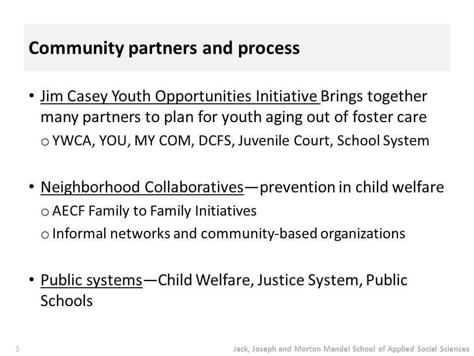 Jack, Joseph and Morton Mandel School of Applied Social Sciences 3 Community partners and process Jim Casey Youth Opportunities Initiative Brings toge
