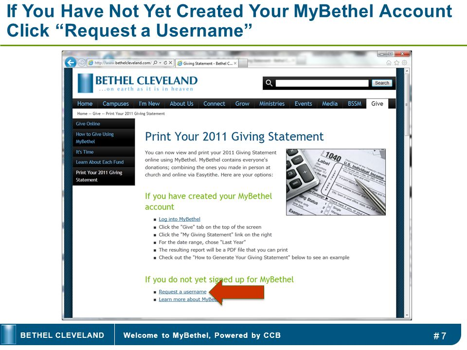 """Welcome to MyBethel, Powered by CCBBETHEL CLEVELAND If You Have Not Yet Created Your MyBethel Account Click """"Request a Username"""" # 7"""