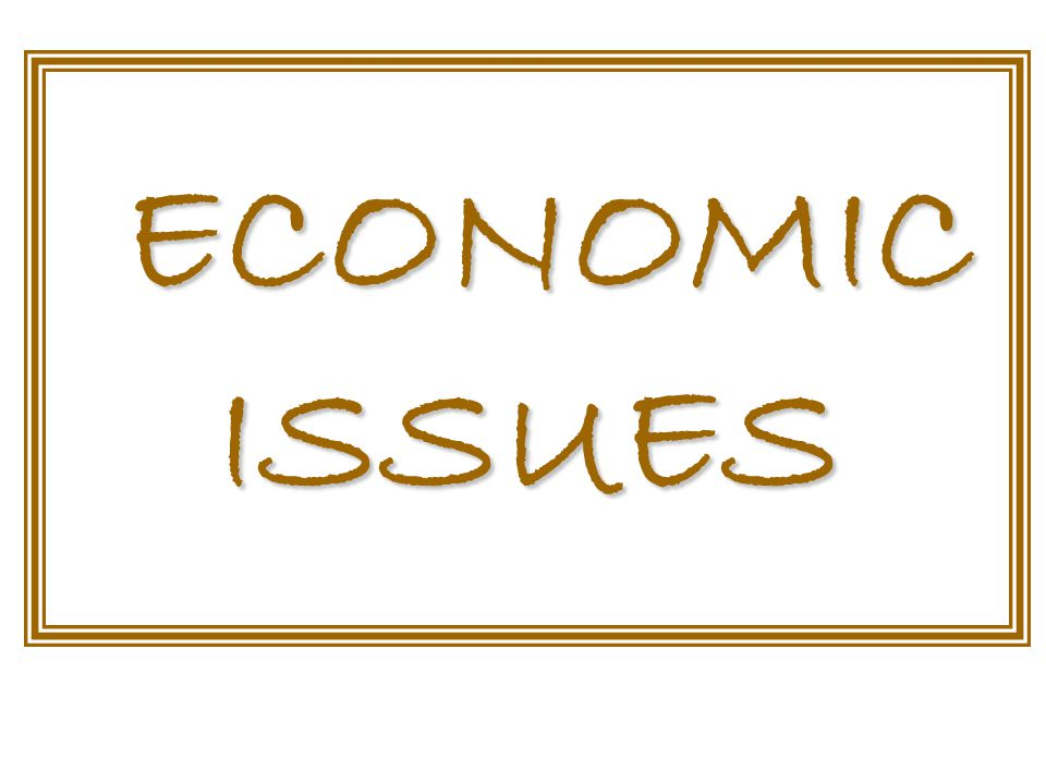 ECONOMIC ISSUES ECONOMIC ISSUES
