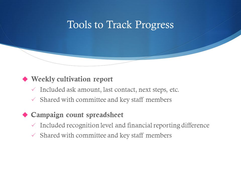 Tools to Track Progress  Weekly cultivation report Included ask amount, last contact, next steps, etc.