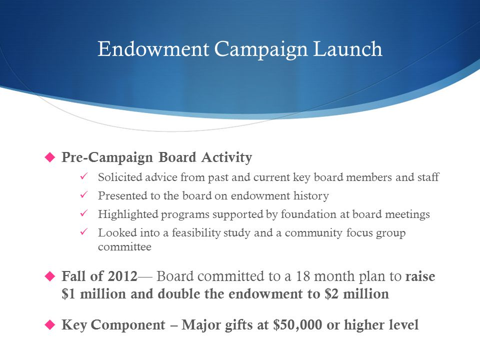 Endowment Campaign Launch  Pre-Campaign Board Activity Solicited advice from past and current key board members and staff Presented to the board on endowment history Highlighted programs supported by foundation at board meetings Looked into a feasibility study and a community focus group committee  Fall of 2012 — Board committed to a 18 month plan to raise $1 million and double the endowment to $2 million  Key Component – Major gifts at $50,000 or higher level