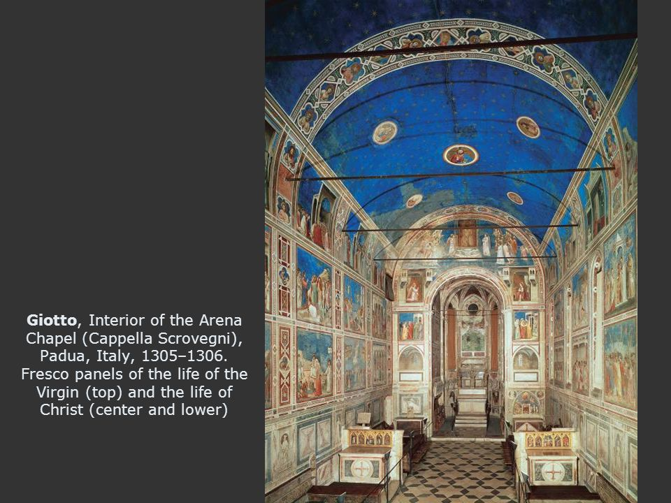 Giotto, Interior of the Arena Chapel (Cappella Scrovegni), Padua, Italy, 1305–1306.