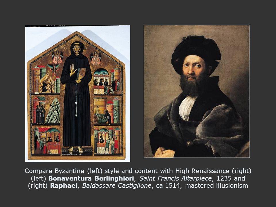 Compare (left) High Italian Renaissance Raphael, Baldassare Castiglione, ca 1514, mastered illusionism with Vincent Van Gogh, Dutch Modernist, Portrait Dedicated to Paul Gauguin, 1888