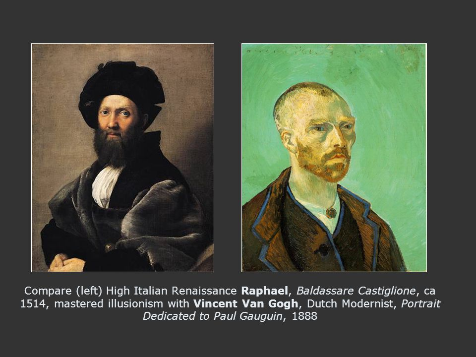Compare (left) High Italian Renaissance Raphael, Baldassare Castiglione, ca 1514, mastered illusionism with Vincent Van Gogh, Dutch Modernist, Portrait Dedicated to Paul Gauguin, 1888