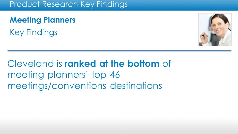 Meeting Planners Key Findings Product Research Key Findings Cleveland is ranked at the bottom of meeting planners' top 46 meetings/conventions destinations