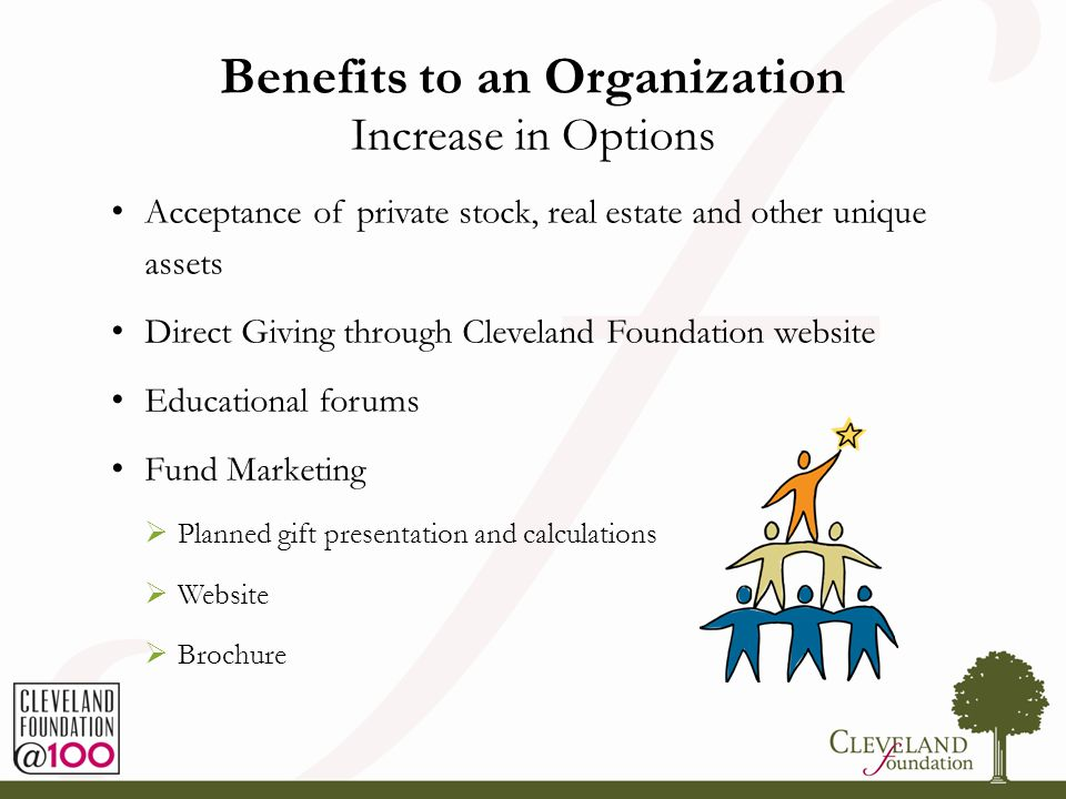 Benefits to an Organization Increase in Options Acceptance of private stock, real estate and other unique assets Direct Giving through Cleveland Found