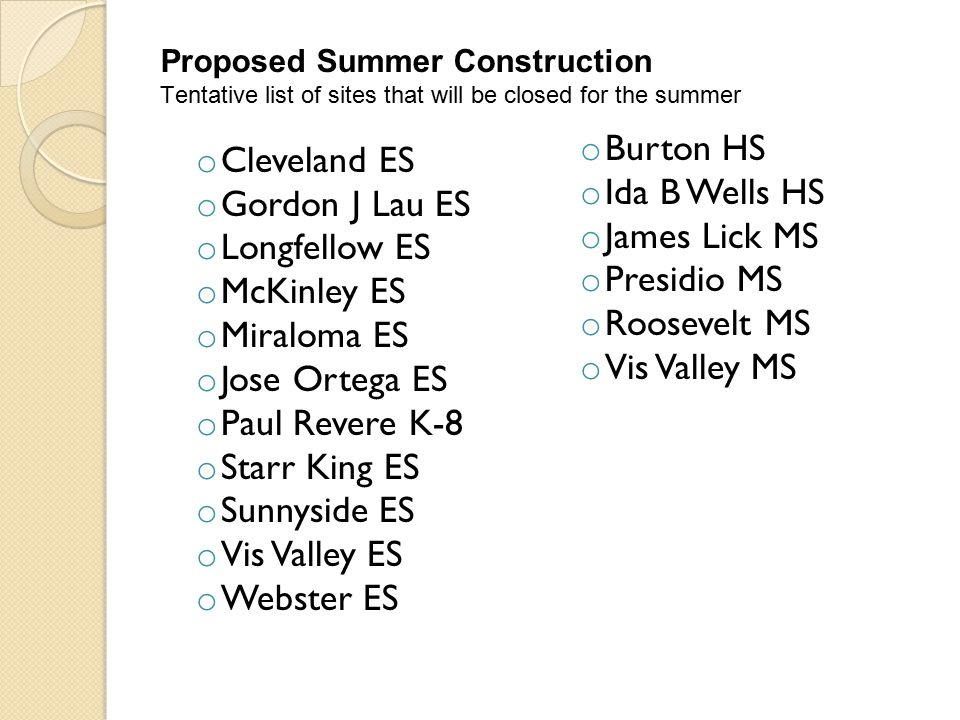 Green School Yard construction Aptos MLK Francisco MS Hoover MS Downtown HS Wallenberg Proposed Summer Construction Tentative list of sites that have: Roof /Window construction Lakeshore Marshall ES