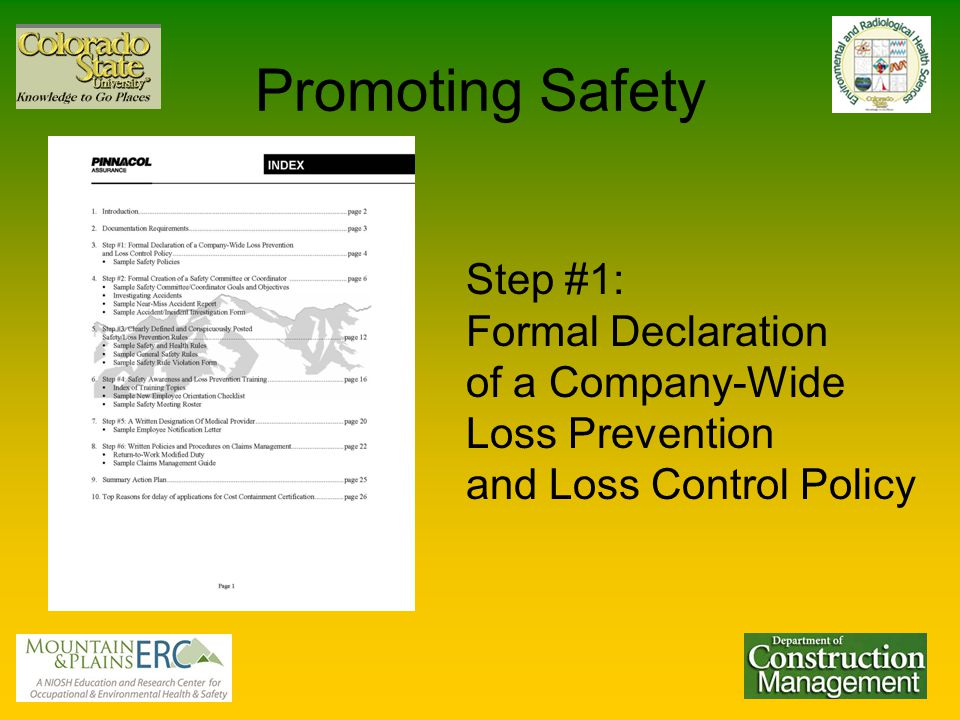 Promoting Safety Step #1: Formal Declaration of a Company-Wide Loss Prevention and Loss Control Policy