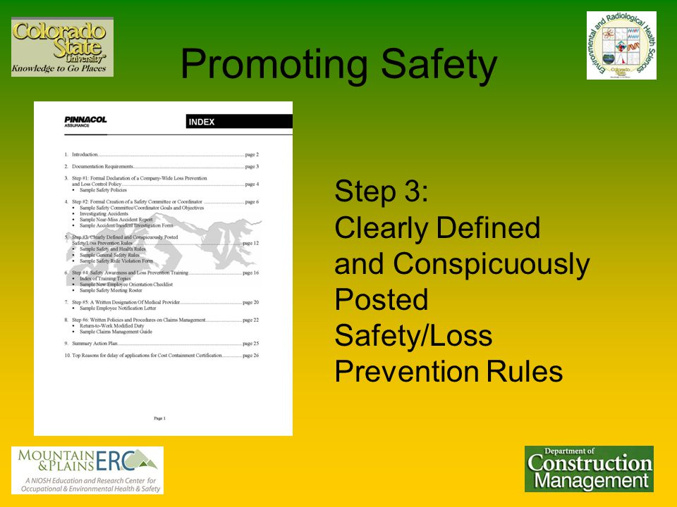 Promoting Safety Step 3: Clearly Defined and Conspicuously Posted Safety/Loss Prevention Rules