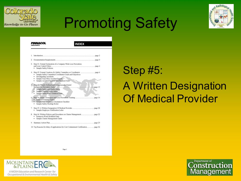 Promoting Safety Step #5: A Written Designation Of Medical Provider
