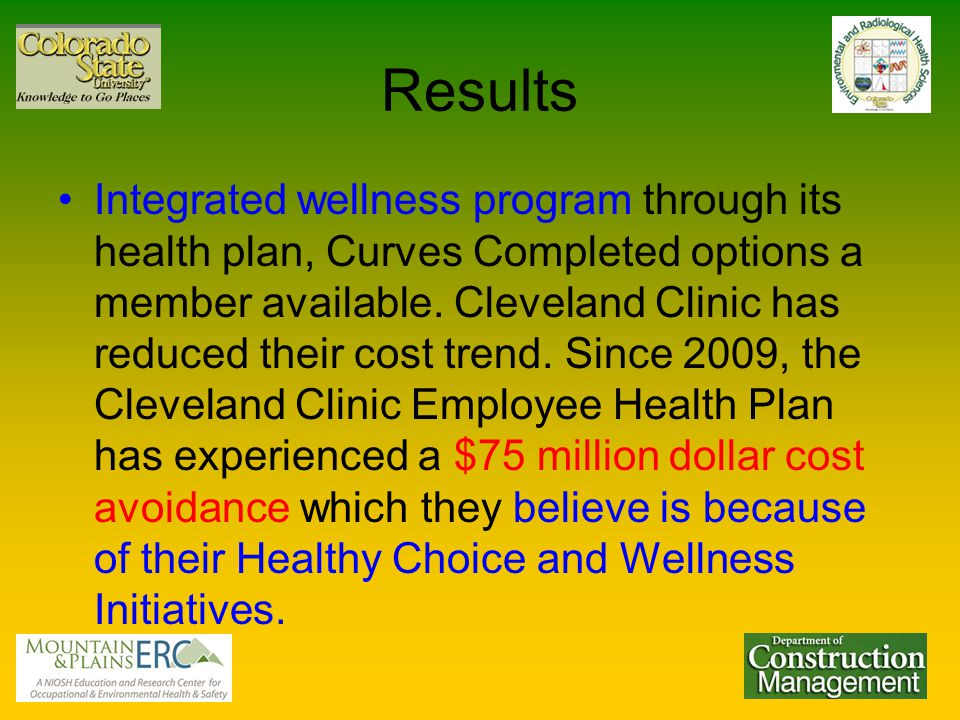 Results Integrated wellness program through its health plan, Curves Completed options a member available.