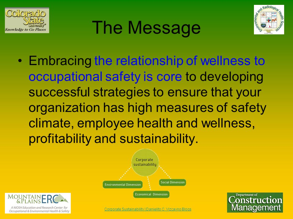 The Message Embracing the relationship of wellness to occupational safety is core to developing successful strategies to ensure that your organization has high measures of safety climate, employee health and wellness, profitability and sustainability.