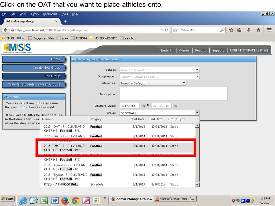 Click on the OAT that you want to place athletes onto.