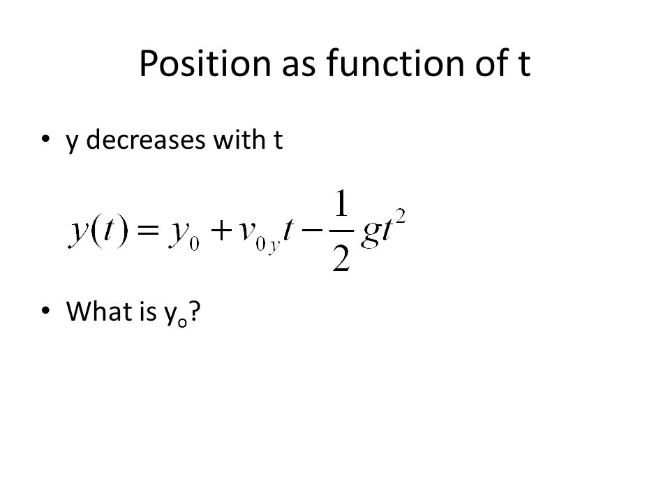 Position as function of t y decreases with t What is y o ?