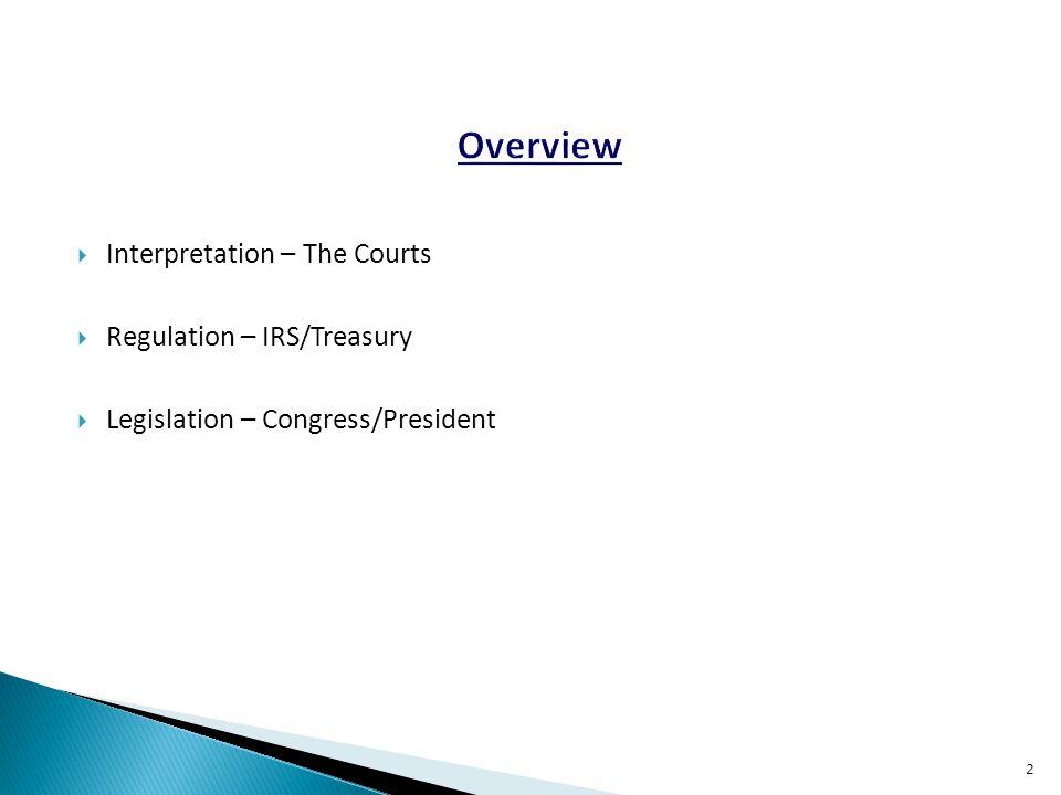  Interpretation – The Courts  Regulation – IRS/Treasury  Legislation – Congress/President 2