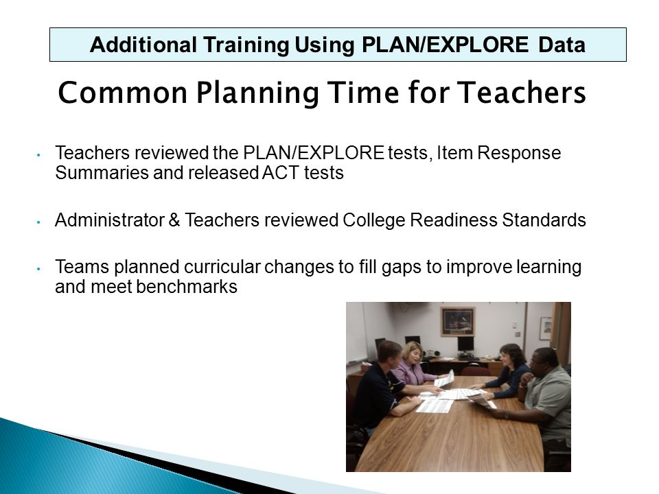 Common Planning Time for Teachers Teachers reviewed the PLAN/EXPLORE tests, Item Response Summaries and released ACT tests Administrator & Teachers reviewed College Readiness Standards Teams planned curricular changes to fill gaps to improve learning and meet benchmarks Additional Training Using PLAN/EXPLORE Data
