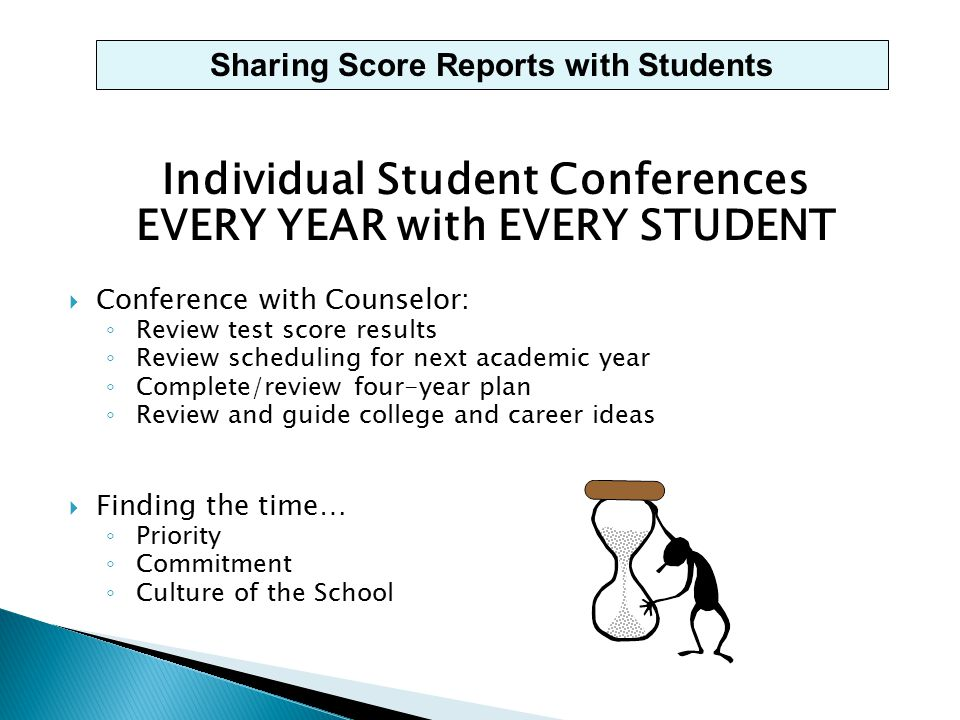 Individual Student Conferences EVERY YEAR with EVERY STUDENT  Conference with Counselor: ◦ Review test score results ◦ Review scheduling for next academic year ◦ Complete/review four-year plan ◦ Review and guide college and career ideas  Finding the time… ◦ Priority ◦ Commitment ◦ Culture of the School Sharing Score Reports with Students