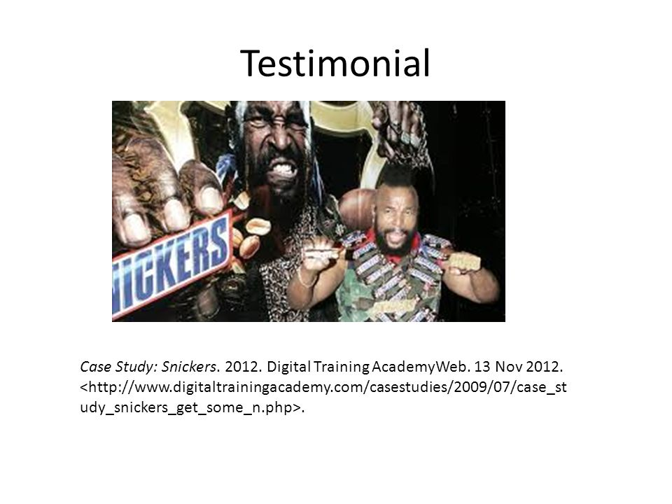 Testimonial Case Study: Snickers. 2012. Digital Training AcademyWeb. 13 Nov 2012..