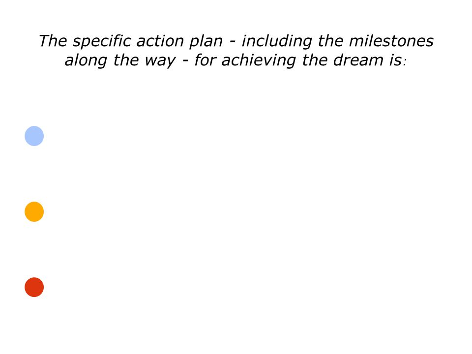 The specific action plan - including the milestones along the way - for achieving the dream is :