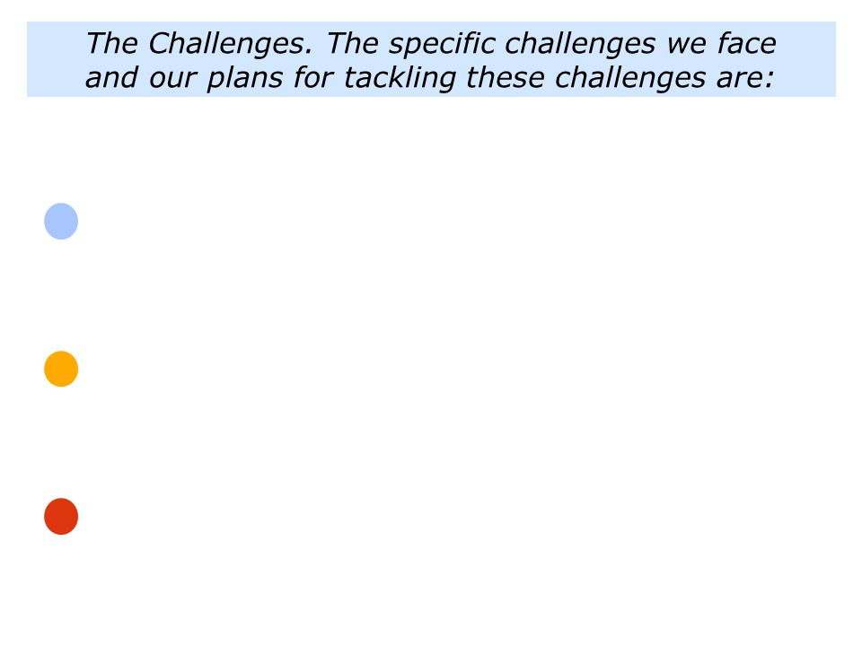 The Challenges. The specific challenges we face and our plans for tackling these challenges are: