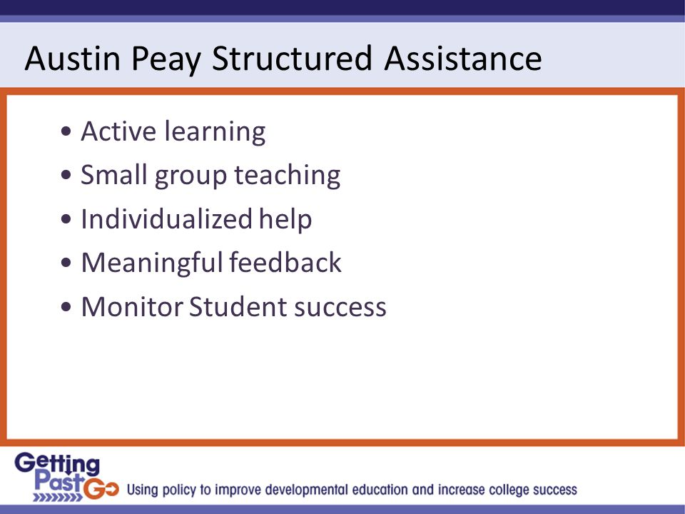 Austin Peay Structured Assistance Active learning Small group teaching Individualized help Meaningful feedback Monitor Student success