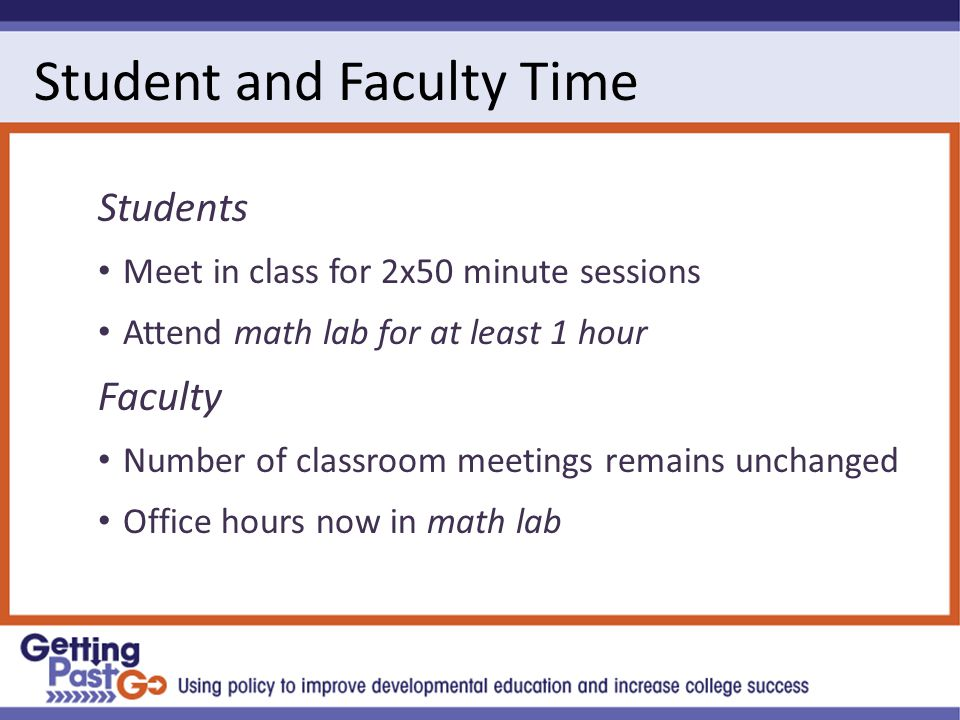 Student and Faculty Time Students Meet in class for 2x50 minute sessions Attend math lab for at least 1 hour Faculty Number of classroom meetings remains unchanged Office hours now in math lab