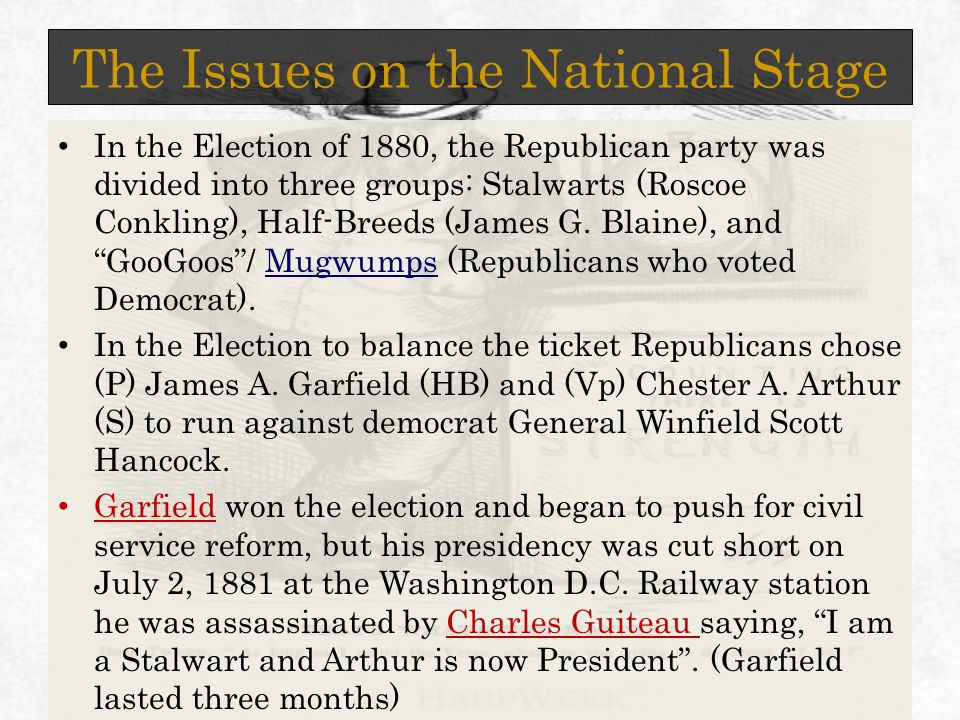 The Issues on the National Stage In the Election of 1880, the Republican party was divided into three groups: Stalwarts (Roscoe Conkling), Half-Breeds (James G.
