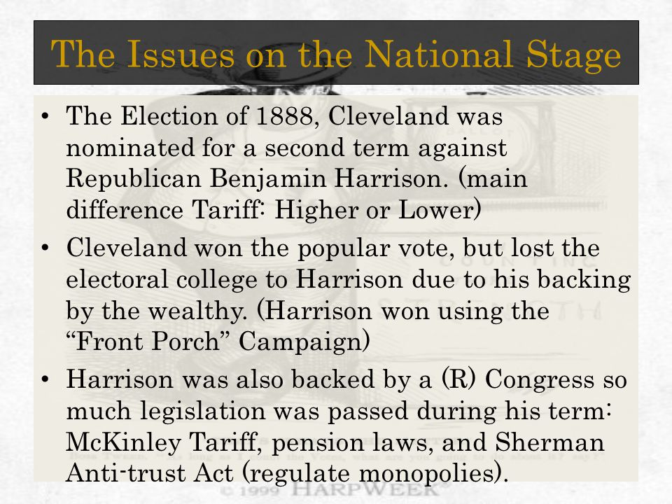 The Issues on the National Stage The Election of 1888, Cleveland was nominated for a second term against Republican Benjamin Harrison.