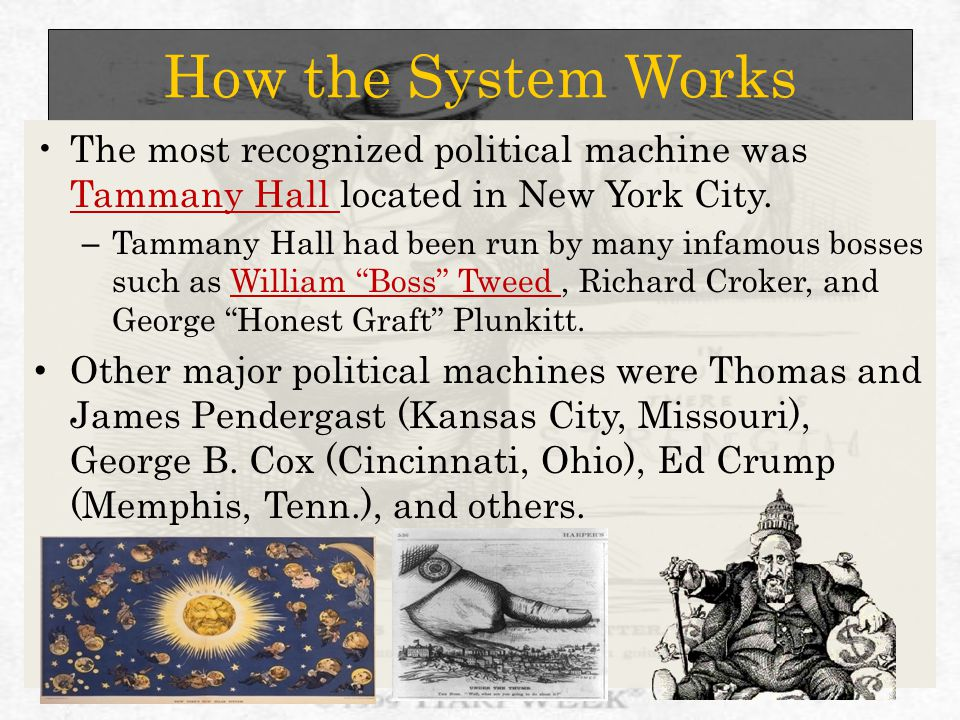 How the System Works The most recognized political machine was Tammany Hall located in New York City.