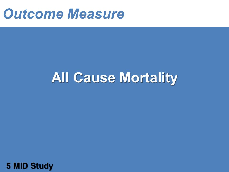 Outcome Measure All Cause Mortality 5 MID Study